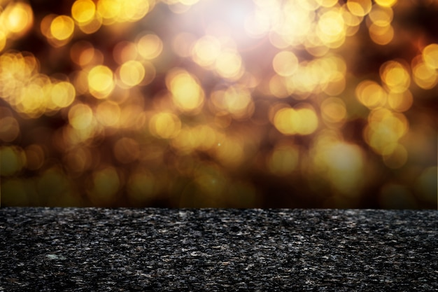 Golden bokeh lights product background