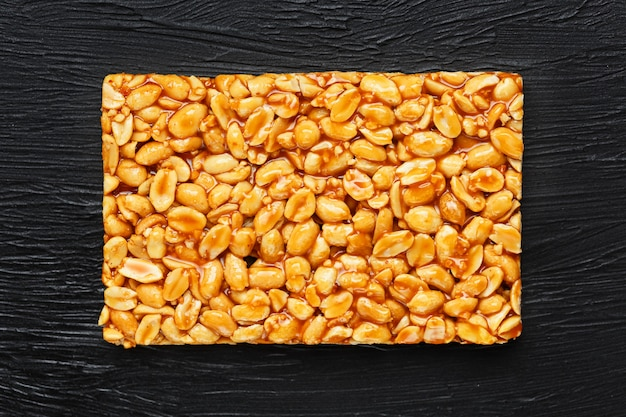 Golden boletus kozinaki from roasted peanut beans energy bars.