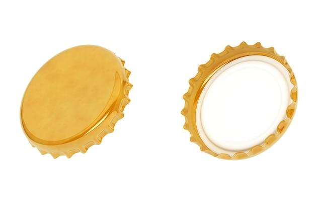 Золотые крышки от бутылок на белом фоне