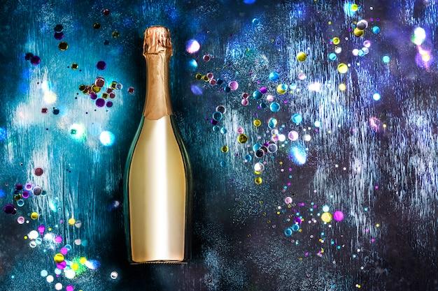 Golden bottle of champagne