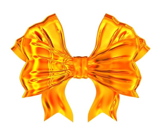 白い背景の上の黄金の弓。分離された3dイラスト