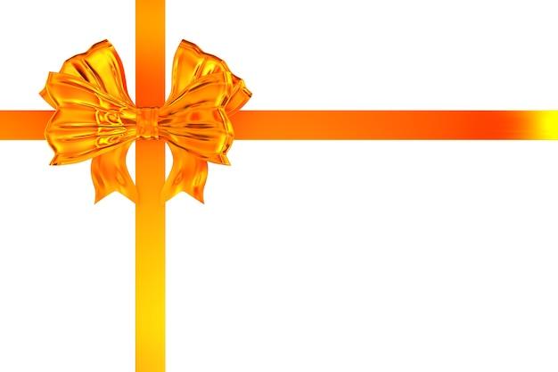 Golden bow on white background. isolated 3d illustration