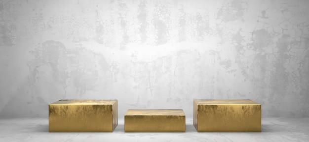 광고 제품 디스플레이 배경 3d 렌더링을위한 황금 상자 연단 플랫폼