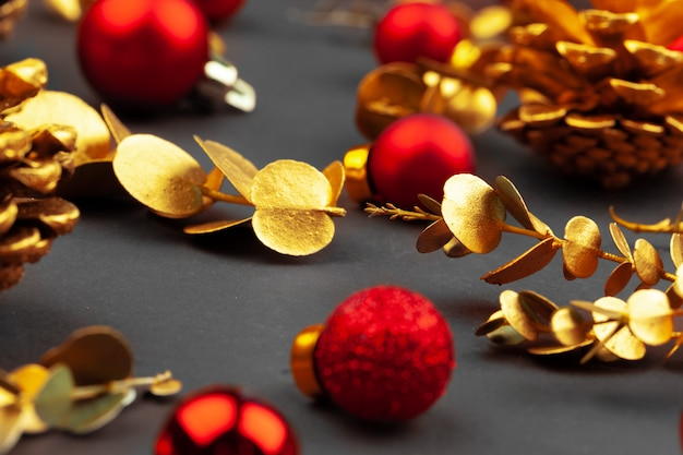Golden branches and golden cones, christmas decor