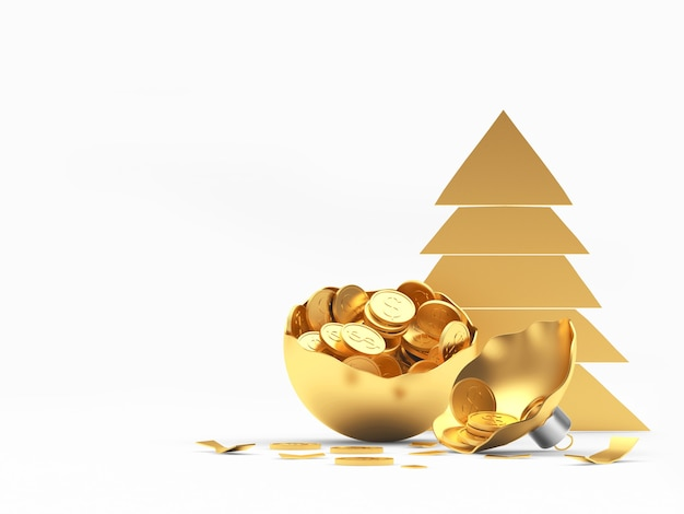 Golden broken christmas ball full of coins and tree icon