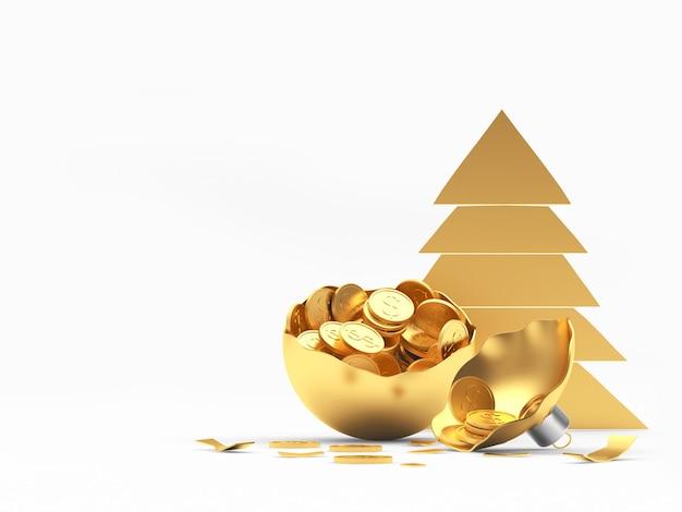 コインと木のアイコンでいっぱいの黄金の壊れたクリスマスボール