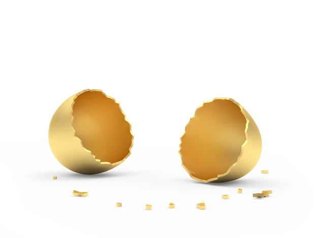 황금 깨진 빈 달걀 껍질