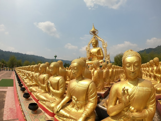 Golden buddha image, symbol that represents the buddha of buddhists.