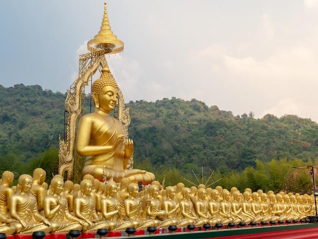 Golden buddha image, symbol that represents the buddha of buddhists.