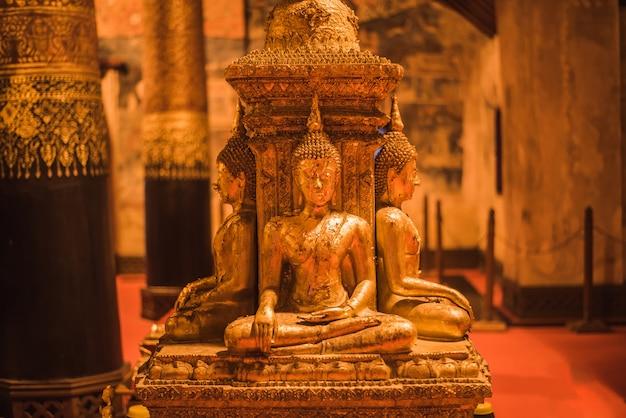 Golden buddha image in wat phumin in nan, thailand