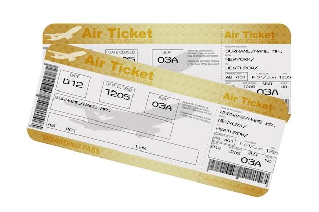 白地にゴールデンビジネスまたはファーストクラスの航空券搭乗券フライエアチケット。 3dレンダリング