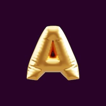 Golden capital a letter balloon 3d illustration. 3d illustration of golden capital a letter balloon.