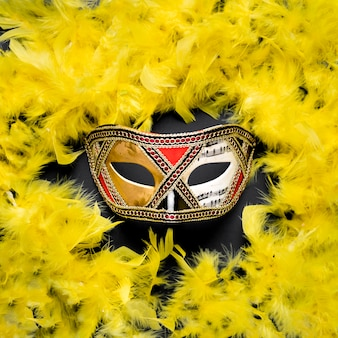 Golden carnival mask with yellow feather boa