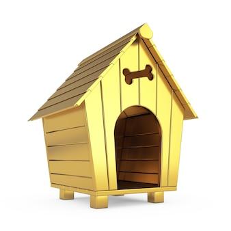 白い背景の上の黄金の漫画の犬小屋。 3dレンダリング
