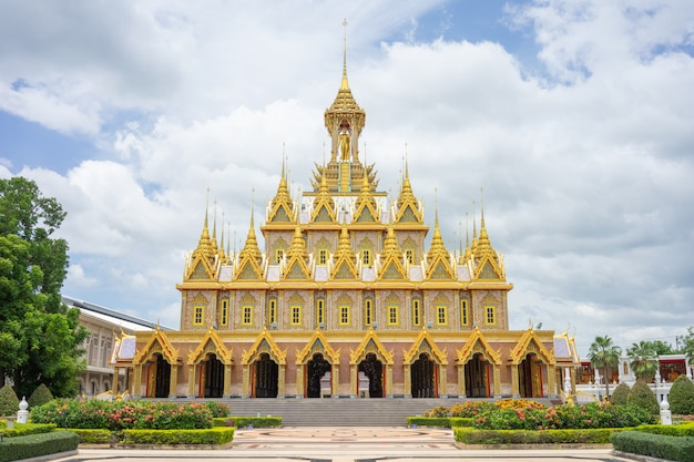 Golden castle at wat chantharam (wat tha sung) uthaithani, thailand an old temple