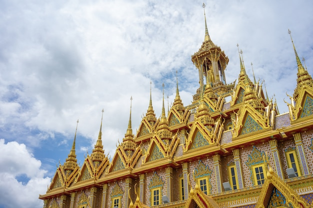Golden castle at wat shantharam (wat tha sung) uthai thani, thailand