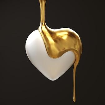 Золотая капля плавления шоколада на форме белого сердца на черном фоне 3d визуализация минимальная творческая идея