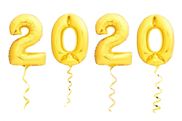 Golden christmas 2020 balloons made of inflatable balloon with golden ribbon on white