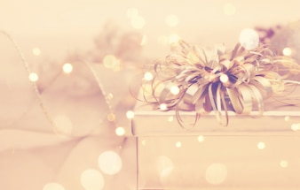 Golden christmas background with gifts
