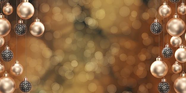 ゴールデンクリスマスボールパーティーボケ背景