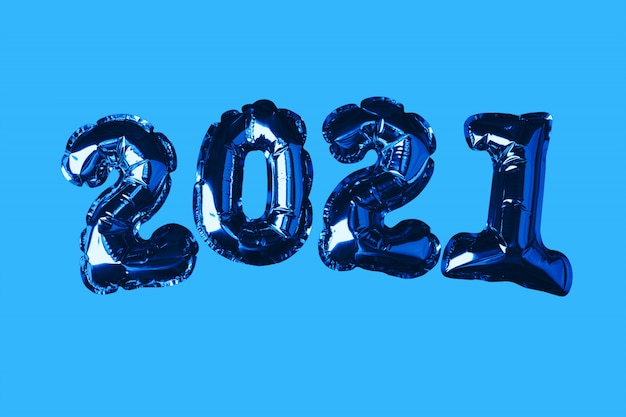 ゴールデンクリスマスボール2021。青色の背景に。