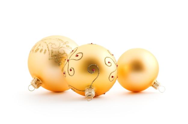 白のゴールデンクリスマスボール