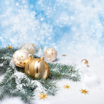 Golden christmas decorations, copy-space