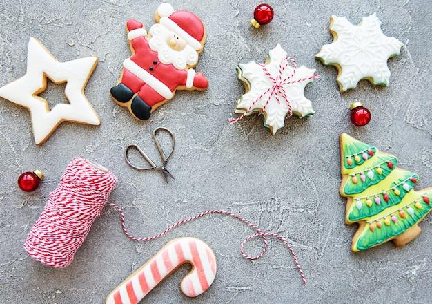 Golden christmas gingerbread cookies