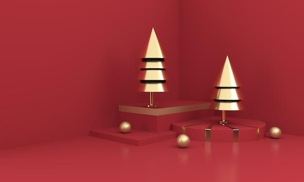 붉은 표면에 황금 크리스마스 트리