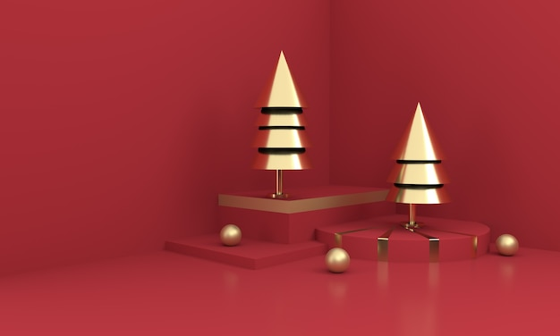 Golden christmas trees on red surface