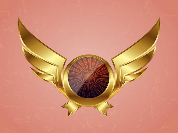 Golden circle airplane wings vector