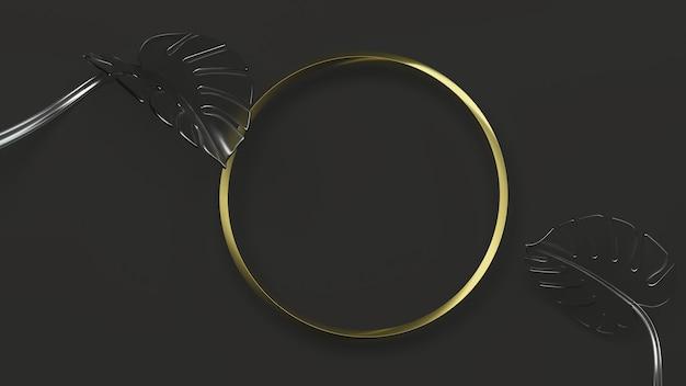 Рамка золотой круг на черном фоне с листьями монстеры. 3d иллюстрации. вид сверху. абстрактный цветочный макет геометрии, черный ключ освещения. матовое стекло