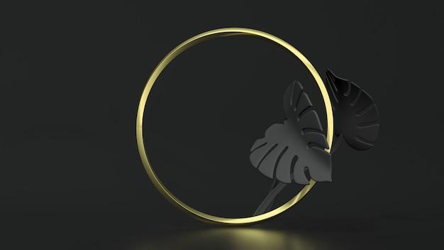 Рамка золотой круг на черном фоне с листьями монстеры. 3d иллюстрации. вид сверху. абстрактный цветочный макет геометрии, черный ключ освещения.