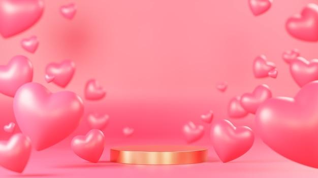 Подиум с золотым кругом для презентации продукта с множеством сердец 3d-объектов на розовом фоне., 3d-модель и иллюстрация.