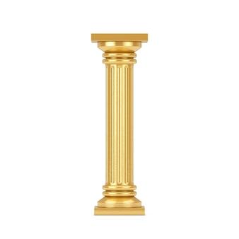흰색 바탕에 황금 고전 그리스어 기둥 받침대. 3d 렌더링