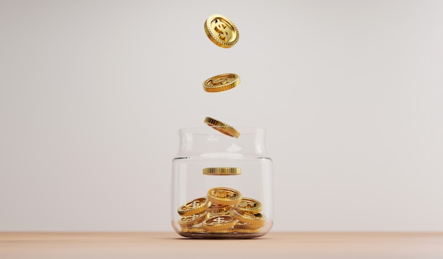 3dレンダリングによる投資と銀行の金融貯蓄預金の概念のために、木製のテーブルの透明な貯蓄瓶に金色のコインを落とします。