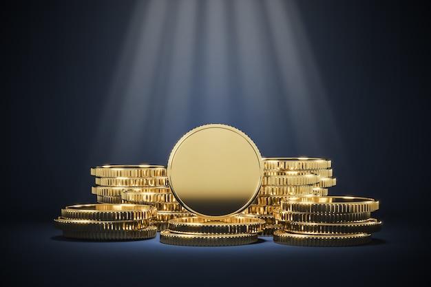 황금 동전 더미 및 조명 자리, 재무 발표를위한 배경. 3d 렌더링