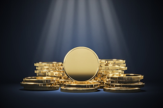 Golden coin pile and lighting spot, background for financial presentation. 3d rendering