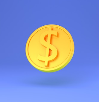 Golden coin with dollar sign minimal cartoon 3d render illustration