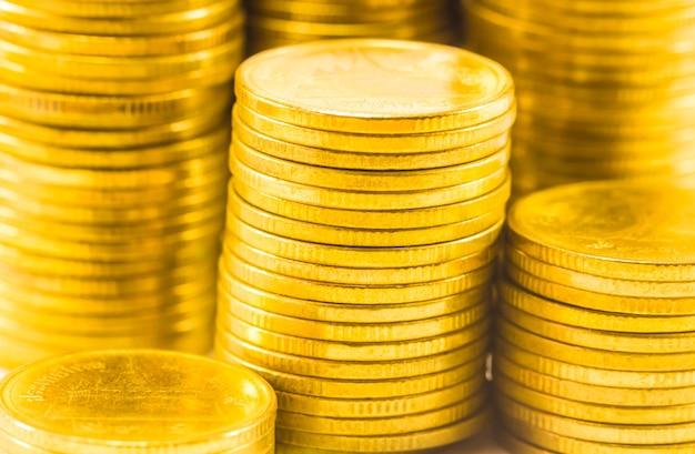 Golden coins close up background.