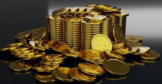 Golden coins pile gold coin dollar