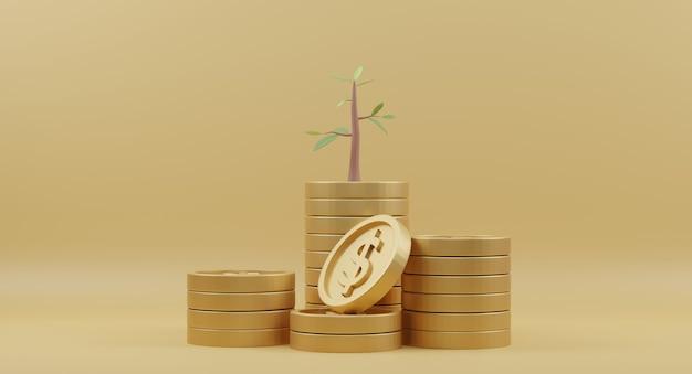 노란색에 나무와 황금 동전 스택