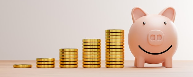 Golden coins stacking with pink piggy smile saving money on wooden table for deposit banking and business profit dividend growth concept by 3d render.