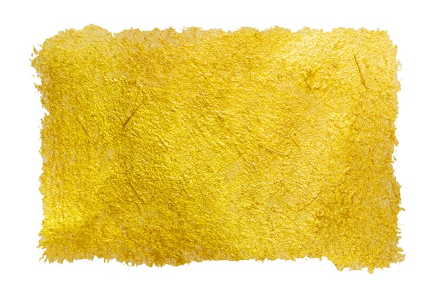 Golden color paint stroke isolated.