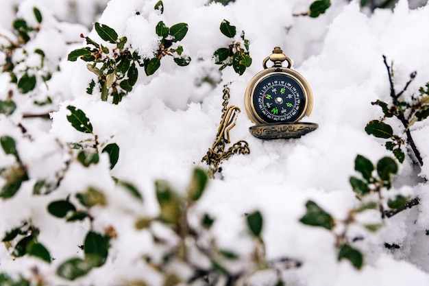 Golden compass lost in the snow. snowy landscape.