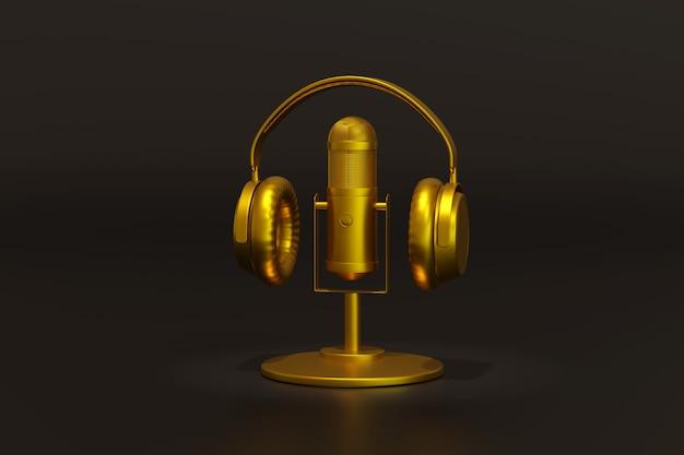 暗い背景に分離されたゴールデンコンデンサーマイクとヘッドフォン。ポッドキャストのコンセプト。