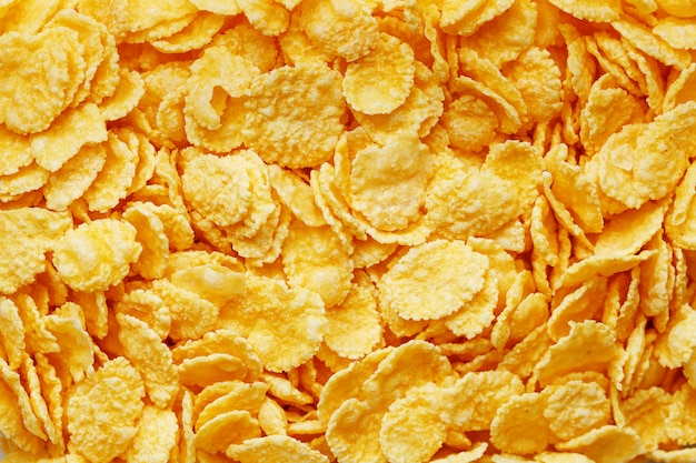 Golden cornflakes, top view, healthy breakfast