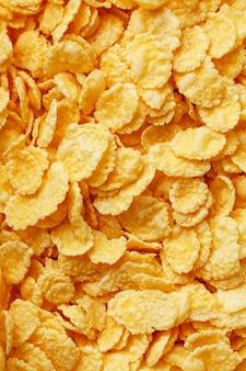 Golden cornflakes, top view, healthy breakfast