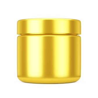 Golden cosmetic jar with lid for cream or gel mockup on a white background. 3d rendering