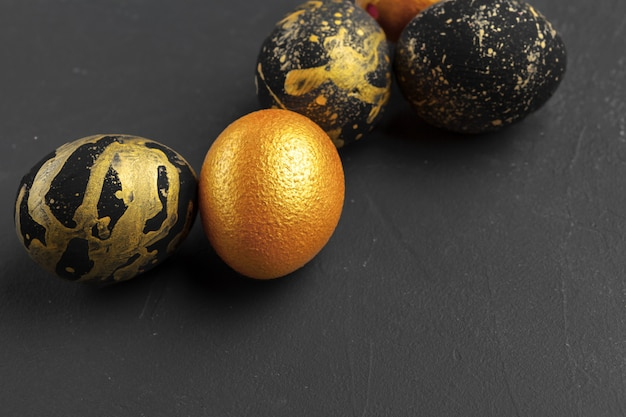 Golden decorated easter eggs